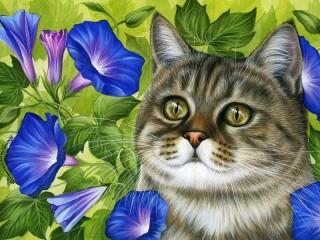 Собирать пазл Ипомея и кот онлайн