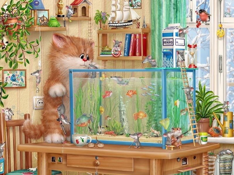 Пазл Собирать пазлы онлайн - Кот и мышки