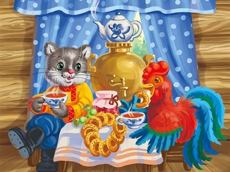 Пазл Собирать пазлы онлайн - Кот и петух