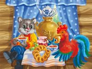 Собирать пазл Кот и петух онлайн