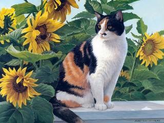 Собирать пазл Кошка и подсолнухи онлайн