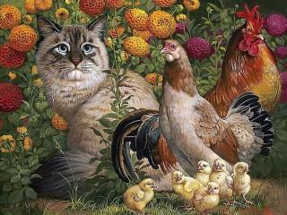 Собирать пазл Кот и птицы онлайн