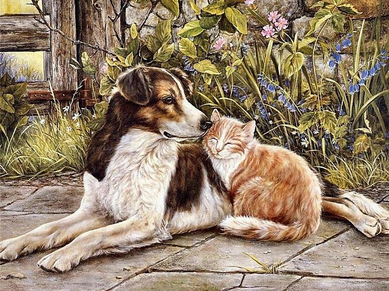 Пазл Собирать пазлы онлайн - Кот и собака