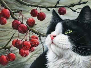 Собирать пазл Кот и ягоды онлайн