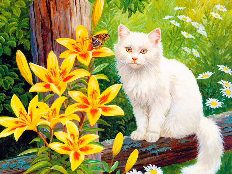 Пазл Собирать пазлы онлайн - Кот на заборе