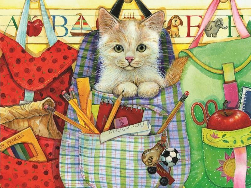 Пазл Собирать пазлы онлайн - Кот в рюкзачке