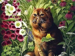 Собирать пазл Кот в саду онлайн