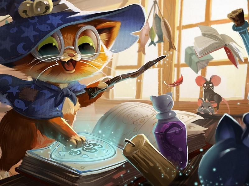 Пазл Собирать пазлы онлайн - Кот-волшебник