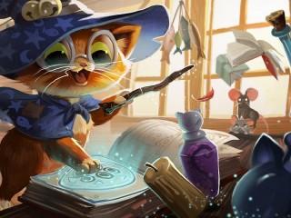 Собирать пазл Кот-волшебник онлайн