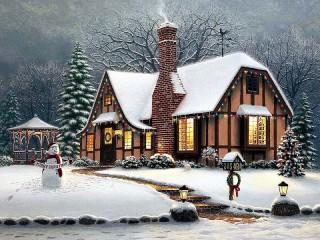 Собирать пазл Коттедж Рождество онлайн