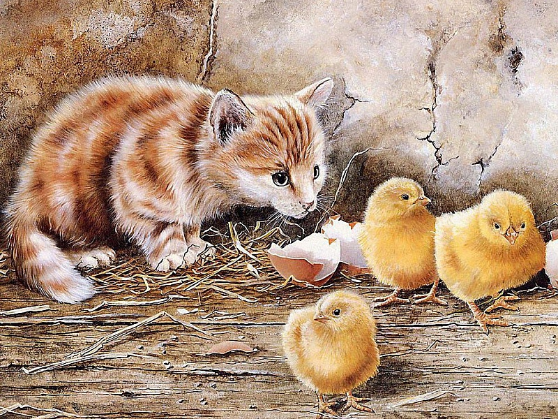 Пазл Собирать пазлы онлайн - Котенок и цыплята
