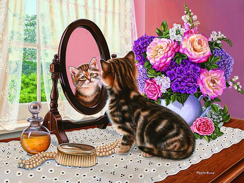 Пазл Собирать пазлы онлайн - Котенок и зеркало