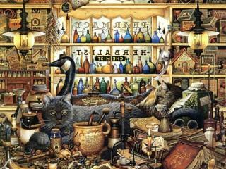 Собирать пазл Коты-алхимики онлайн