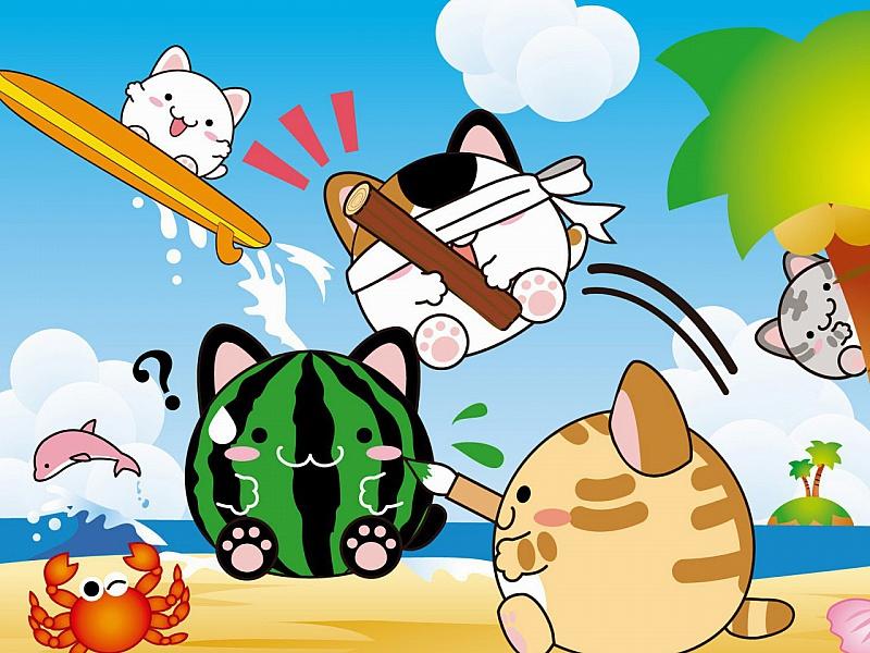 Пазл Собирать пазлы онлайн - Коты на каникулах