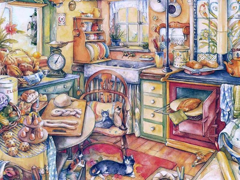 Пазл Собирать пазлы онлайн - Коты на кухне