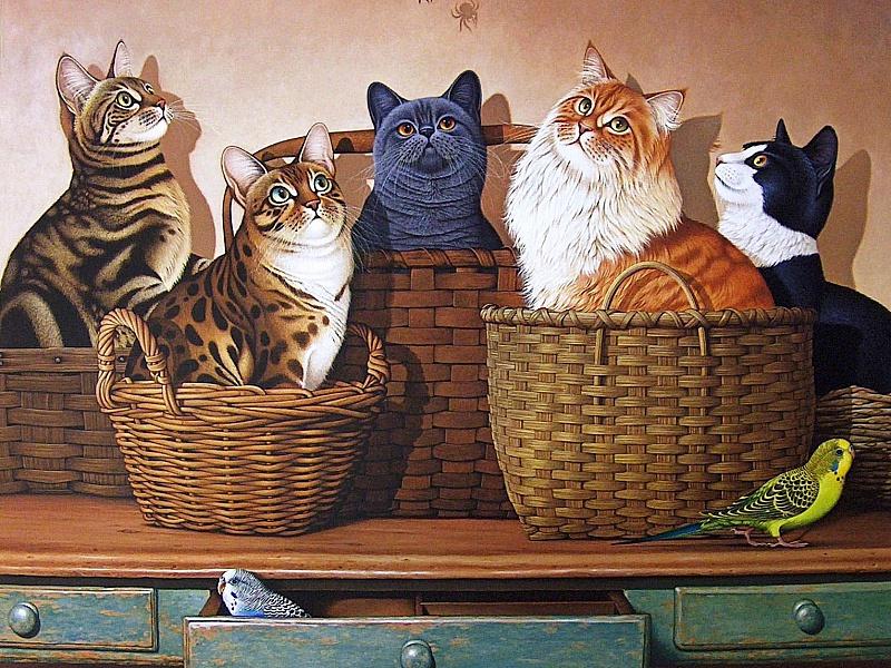 Пазл Собирать пазлы онлайн - Котики  в корзинках