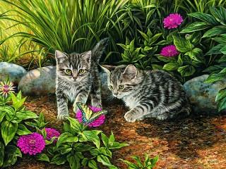 Собирать пазл Котята и бабочка онлайн