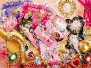 Собирать пазл Котята и бижутерия онлайн