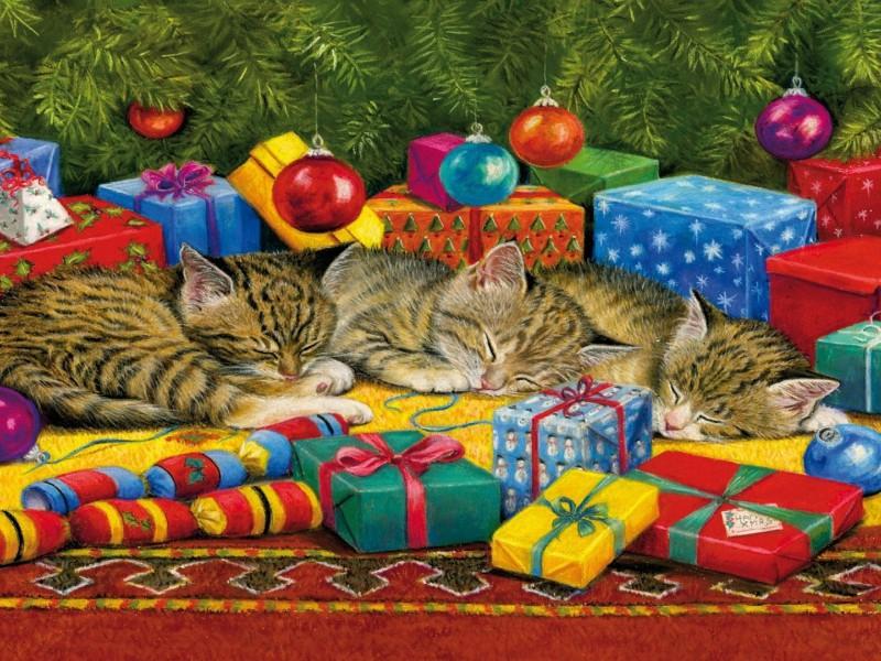 Пазл Собирать пазлы онлайн - Котята и подарки