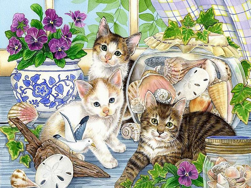 Пазл Собирать пазлы онлайн - Котята и ракушки