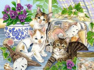 Собирать пазл Котята и ракушки онлайн