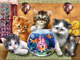 Собирать пазл Котята и рыбки онлайн