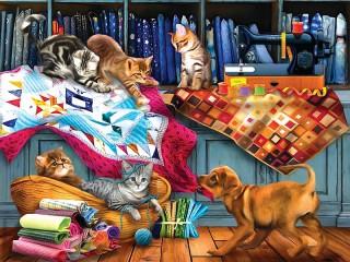 Собирать пазл Котята и щенок онлайн