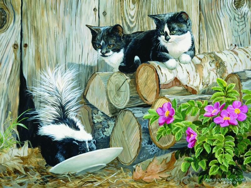 Пазл Собирать пазлы онлайн - Котята и скунс