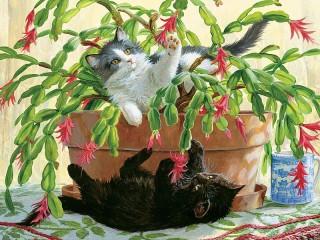 Собирать пазл Котята и цветок онлайн