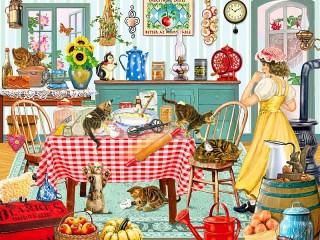 Собирать пазл Котята на кухне онлайн