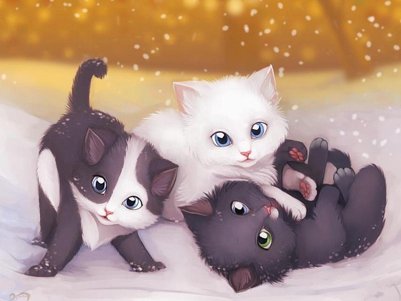 Пазл Собирать пазлы онлайн - Котята на снегу