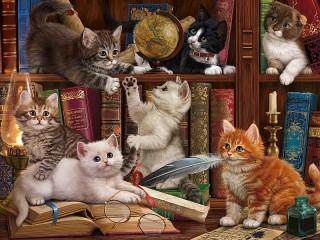 Собирать пазл Котята в библиотеке онлайн
