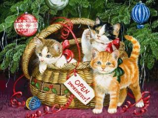 Собирать пазл Котята в корзине онлайн