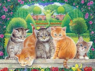 Собирать пазл Котята в парке онлайн