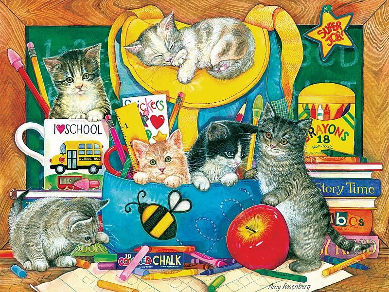 Пазл Собирать пазлы онлайн - Котята в рюкзаке