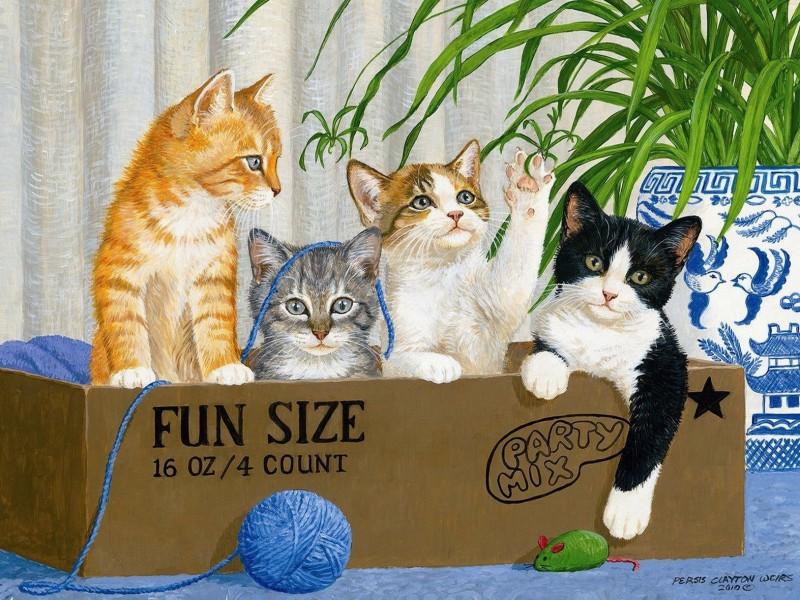 Пазл Собирать пазлы онлайн - Котята в ящике