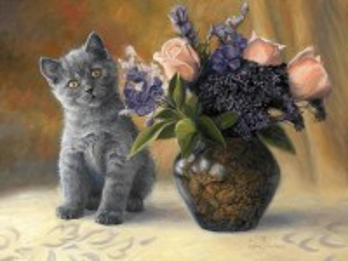 Собирать пазл Котёнок и цветы онлайн