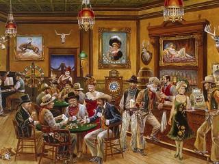 Собирать пазл Ковбои в баре онлайн