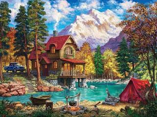 Собирать пазл Красная палатка онлайн
