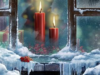 Собирать пазл Новогодние свечи онлайн