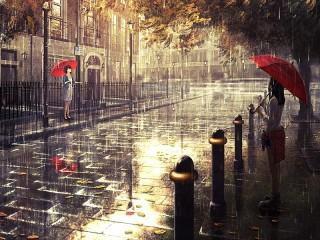 Собирать пазл Красные зонтики онлайн