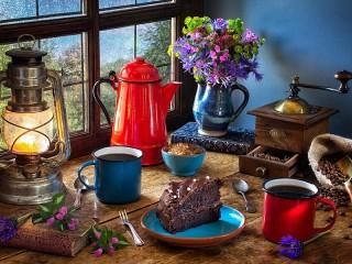 Собирать пазл Красный кофейник онлайн