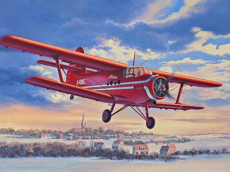Пазл Собирать пазлы онлайн - Красный самолёт