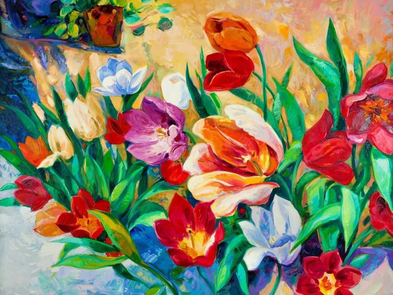 Пазл Собирать пазлы онлайн - Красочные цветы