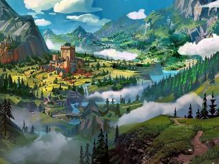 Собирать пазл Крепость в долине онлайн