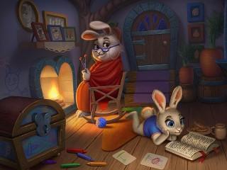 Собирать пазл Кроличья семья онлайн