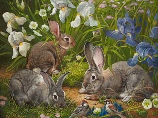 Собирать пазл Кролики и ирисы онлайн