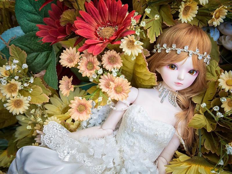 Пазл Собирать пазлы онлайн - Кукла в цветах