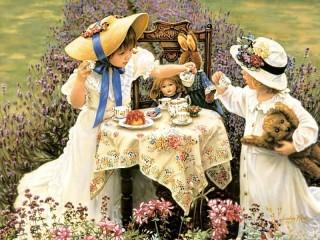 Собирать пазл Кукольное чаепитие онлайн