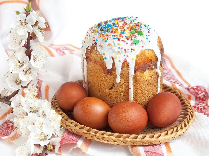 Пазл Собирать пазлы онлайн - Кулич пасха яйца